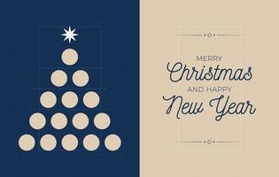 bannière de vacances avec arbre de Noël de volleyball