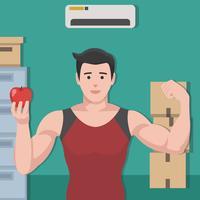Nutritionniste gai avec Apple sur sa main Vector Illustration