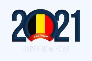 typographie du nouvel an 2021 avec le drapeau de la belgique
