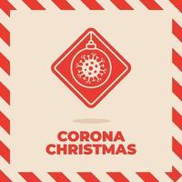 panneau de signalisation de coronavirus de Noël