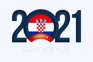typographie du nouvel an 2021 avec drapeau croatie