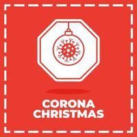 panneau de signalisation de coronavirus de Noël vecteur