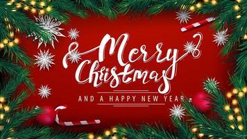 carte postale avec guirlande et cadre de branches d'arbres de Noël vecteur