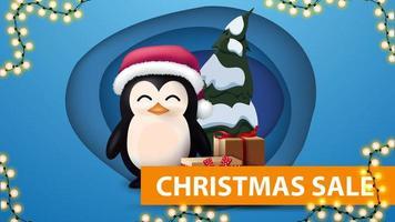 bannière de réduction avec guirlande et pingouin