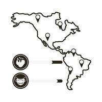 carte avec icône infographique de coronavirus