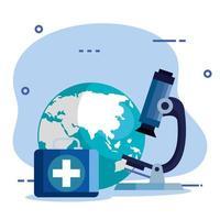 microscope avec planète terre et trousse de premiers soins