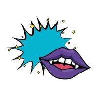 lèvres de vampire femme pop art avec des crocs