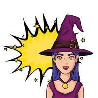 femme en costume de sorcière pour halloween vecteur