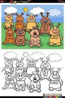 Page de livre de coloriage de groupe de chiens drôles de dessin animé