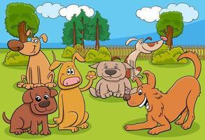 Groupe de personnages animaux chiens de dessin animé dans le parc vecteur