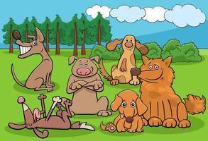 Groupe de personnages drôles de chiens de dessin animé dans le parc vecteur
