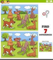 Jeu de différences avec groupe de personnages de chiens
