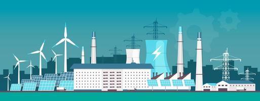 centrale électrique écologique vecteur