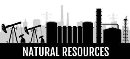 bannière de silhouette noire de ressources naturelles vecteur