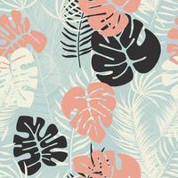 modèle sans couture d & # 39; été avec des feuilles de palmier monstera colorées vecteur