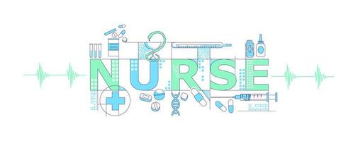 mot d & # 39; infirmière avec des icônes vecteur
