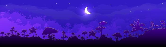 paysage de forêt de nuit vecteur