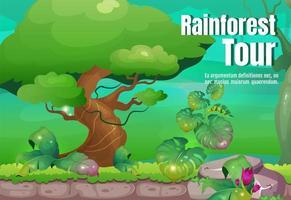 affiche de la visite de la forêt tropicale vecteur