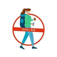 femme avec sac à dos et passeport vecteur