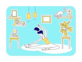 yoga à la maison vecteur