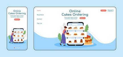 commande de gâteaux en ligne page de destination adaptative vecteur