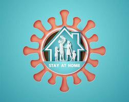 rester à la maison pendant l'épidémie de coronavirus. vecteur