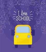 bus jaune et jeu d & # 39; icônes de retour à l & # 39; école