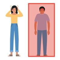 avatar homme et femme avec maux de tête et fièvre vecteur