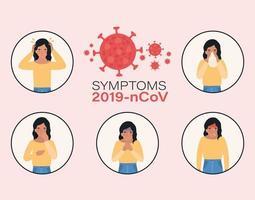avatar femme avec conception des symptômes du virus ncov 2019 vecteur