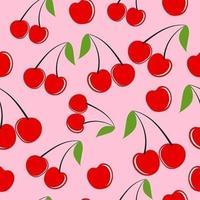 motif de fond sans couture de fruits cerises vecteur