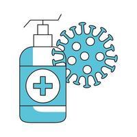 bouteille antibactérienne avec particule de coronavirus