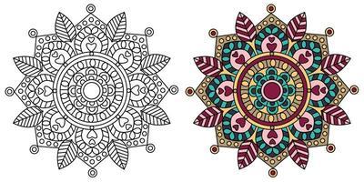 Livre de coloriage mandala à colorier décoratif décoratif arrondi vecteur