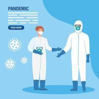 personnes en combinaisons de matières dangereuses pour la bannière de prévention de la pandémie
