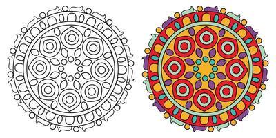 Page de livre de coloriage mandala à colorier décoratif ornemental arrondi