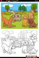 Page de livre de coloriage de groupe de personnages de dessins animés de chiens