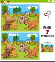 jeu de différences avec groupe de chiens de dessin animé