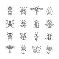 Icône ligne insectes vecteur