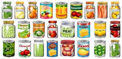 ensemble de différentes conserves et aliments dans des bocaux isolés vecteur