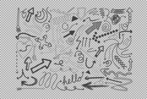 différents traits de doodle isolés sur fond transparent