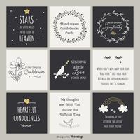Cartes vectorielles de condoléances dessinés à la main mignonne vecteur