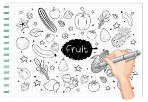 dessin à la main des fruits en style doodle ou croquis sur papier vecteur