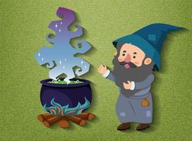 petit personnage de dessin animé de sorcier avec pot de potion vecteur