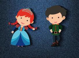 petit personnage de dessin animé prince et princesse sur fond bleu vecteur