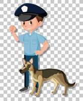 policier avec chien de berger allemand isolé sur fond transparent