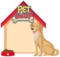 Bannières de maison de chien vierge avec chien mignon isolé sur fond blanc vecteur