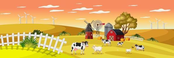paysage de ferme avec ferme d'animaux dans le champ et grange rouge en saison d'automne vecteur