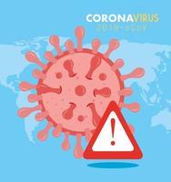 bannière médicale de coronavirus avec signe d'alerte