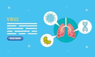 bannière médicale coronavirus avec icône de poumons vecteur