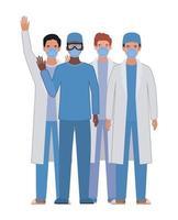 hommes médecins avec uniformes et masques