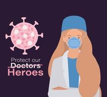 femme médecin héros avec uniforme et masque